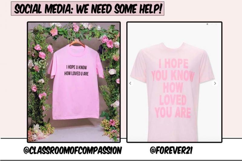 Side by Side of the original Classroom of Compassion T-shirt and the Forever 21 copycat