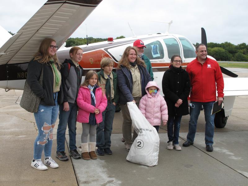 Scouts from Mid America Council in Omaha, NE greet Beechcraft Bonanza after IFR flight across Iowa on September 9, 2020