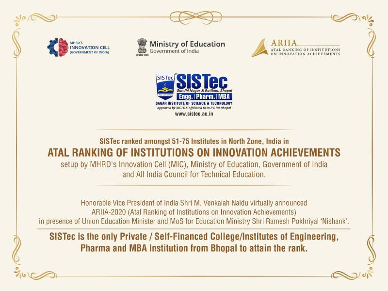 SISTec among top engineering colleges in Bhopal, receives