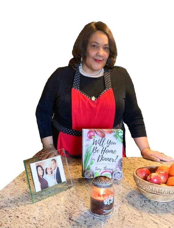 "Tany Thomas with her new book, ""Will You Be Home for Dinner?"""