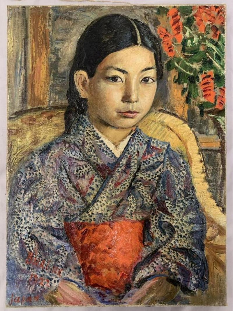 Oil on Canvas Painting of a Japanese Girl by David Burliuk