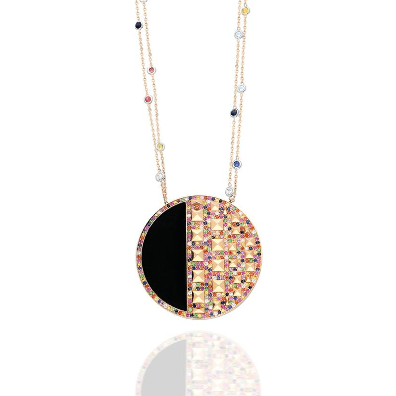 Multicolour Cairo Medallion by Terzihan in 18K Rose Gold with Sapphires, Rubies White Diamonds and Black Onyx Stone ($12,700)