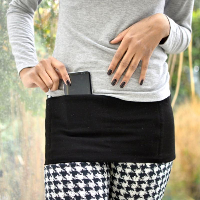 Finally, a sleek fanny pack to subtly carry your phone and other essentials around, while protecting your body from radiation