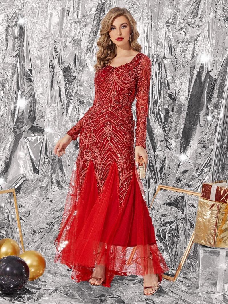 Contrast Sequin Mesh Godet Panel Formal Dress
