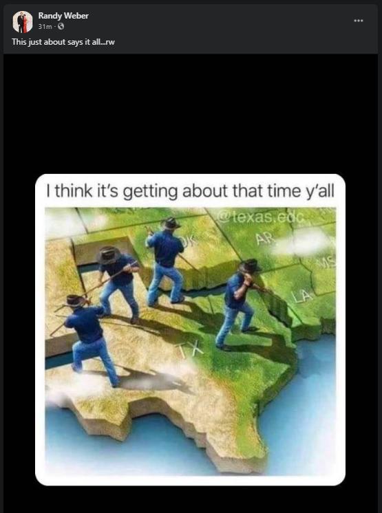 Texas Congressman Randy Weber's Facebook post advocating for secession