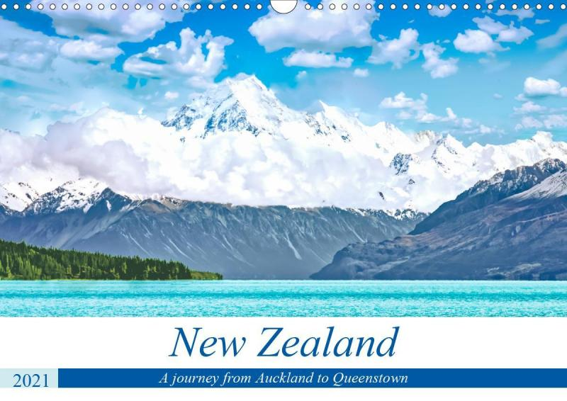 A journey from Auckland to Queenstown - Monthly calendar, 14 pages