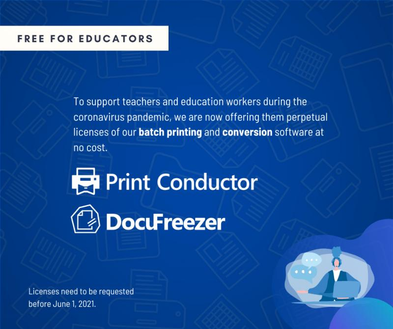 DocuFreezer and Print Conductor ? Now Free for Teachers Worldwide