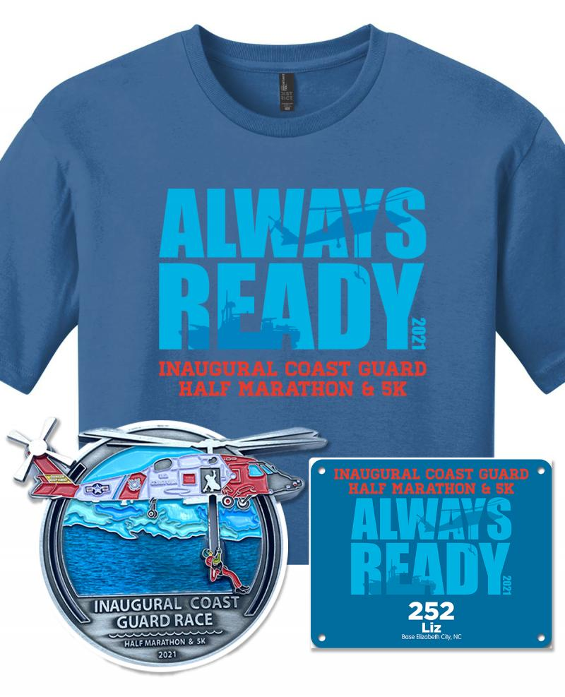 First-ever Coast Guard Run swag package with t-shirt, bib, and interactive finisher medal