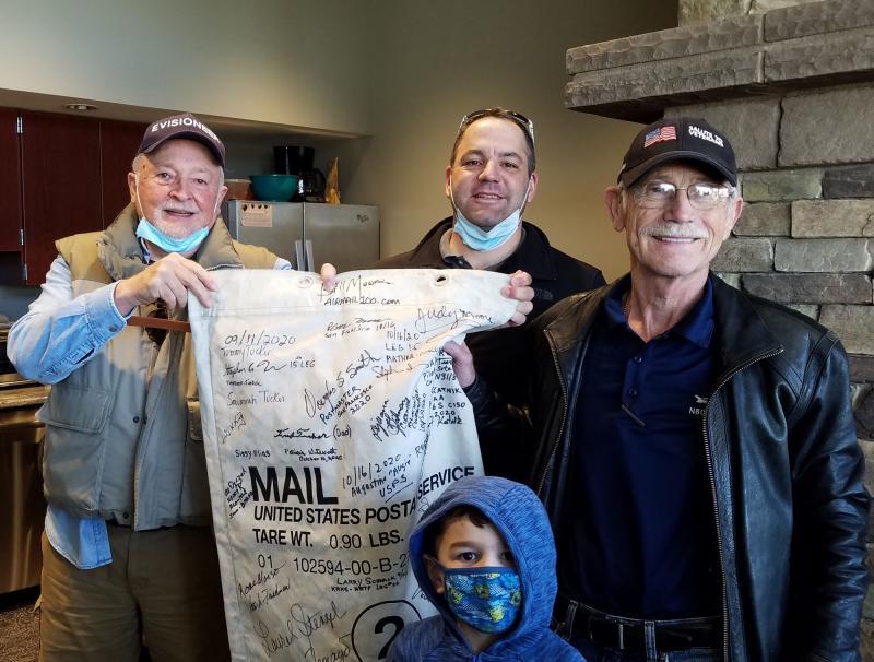 Airmail100 project organizer Bill Moore (left) with volunteer pilots David Ott and Al Dyczek.