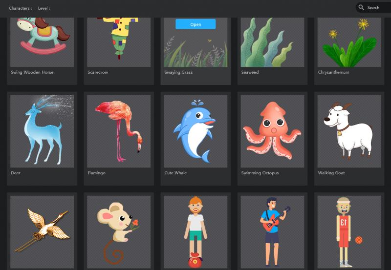 Avatars can be made from PNG/PSD images or with one of many built-in character templates Mango Animate CM provides.
