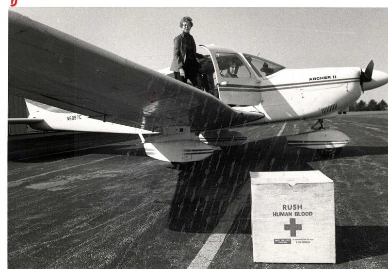 Wanda Whitsitt, LifeLine Pilots' founder, in the early 1980s, flying blood products for urgent medical use.