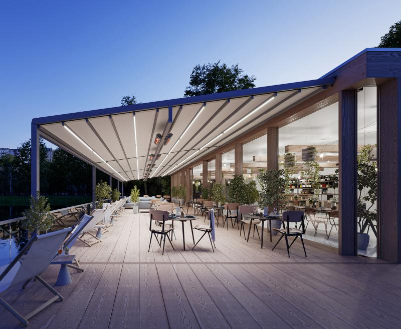 """The """"pergola stretch"""" by markilux turns outdoor dining areas into a cosy al fresco guestroom."""