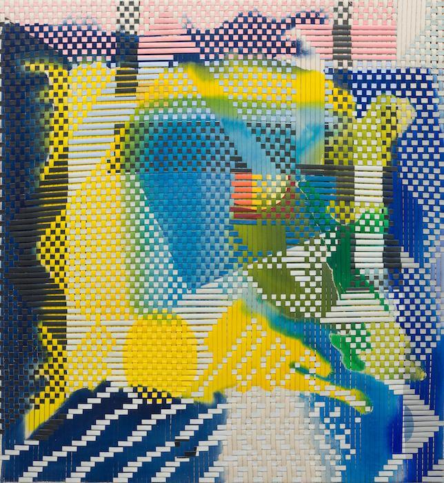 "Isla Del Sol, Woven acrylic on canvas, 50"" x 40"", 2021"