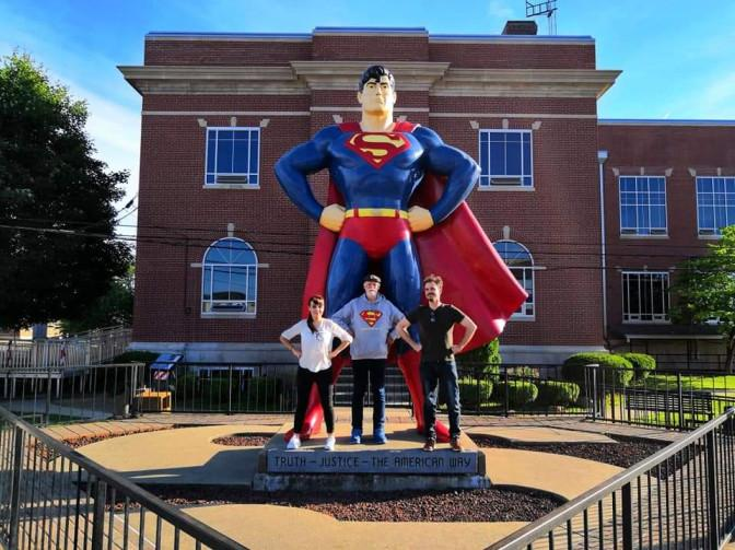 Jim Hambrick Founder of the Superman Museum with Veronica Vitale, Patrick Hamilton