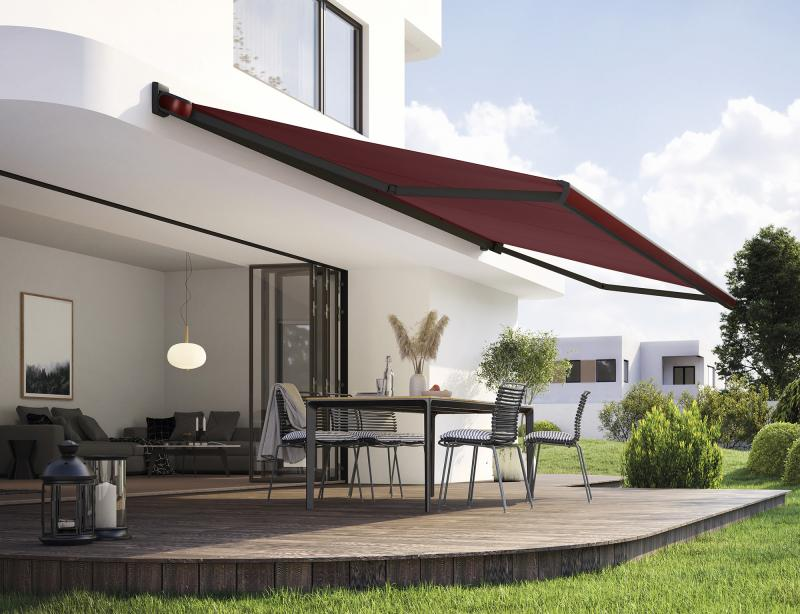 "The ""Selection MX"" is a particularly noble real metal color range for awnings from markilux."
