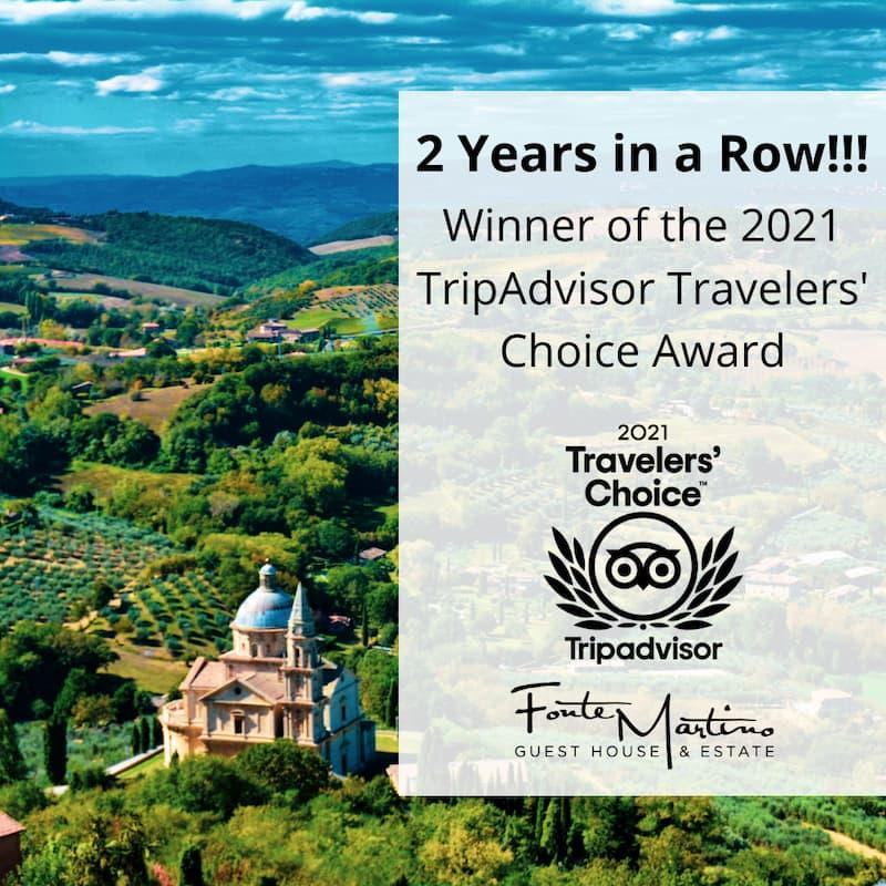 Fonte Martino Bed and Breakfast in Tuscany Wins 2021 Travel Award