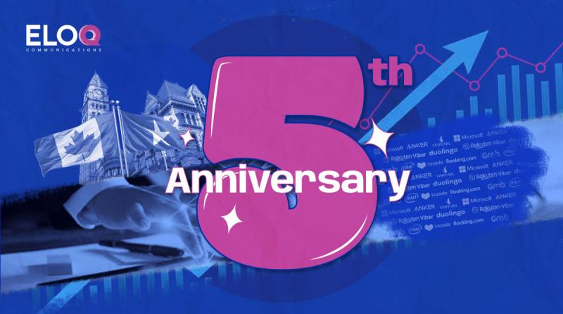 EloQ Communications celebrates its fifth anniversary with early success in providing top-notch PR services for clients.