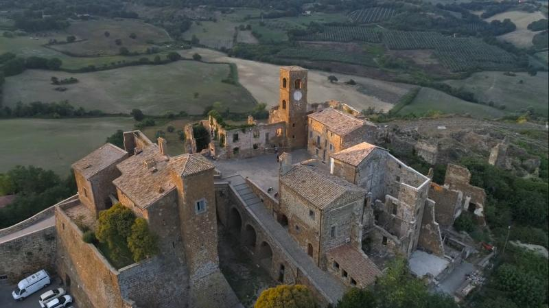 Aereal view of Ghost village Celleno (VT) and its castle
