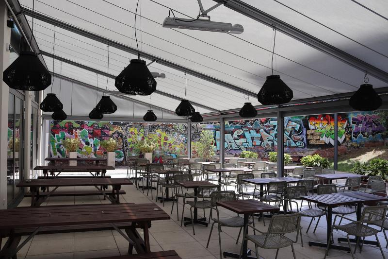 Awning manufacturer markilux has fitted a large pergola system to the 'Hotel Schulz' in Berlin.