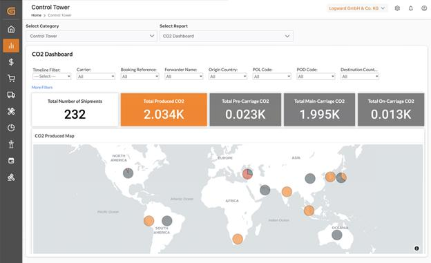 The CO2 dashboard gives shippers and overview of what drives their carbon emissions.