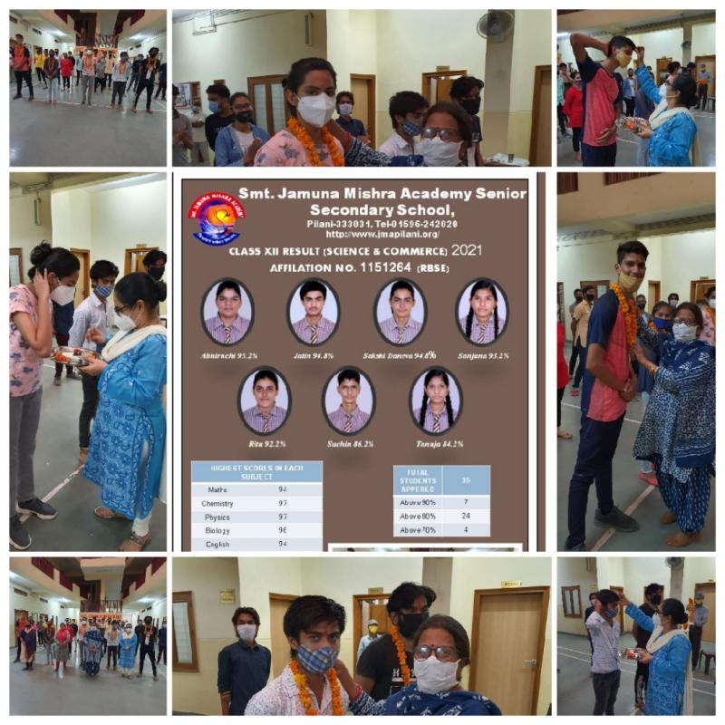 Top Ranking Performance by Students of JMA Pilani in 2021 RBSE Class 12