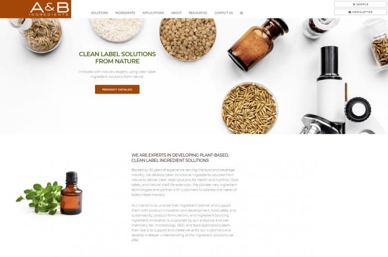 A&B Ingredients Redesigned Website Home Page