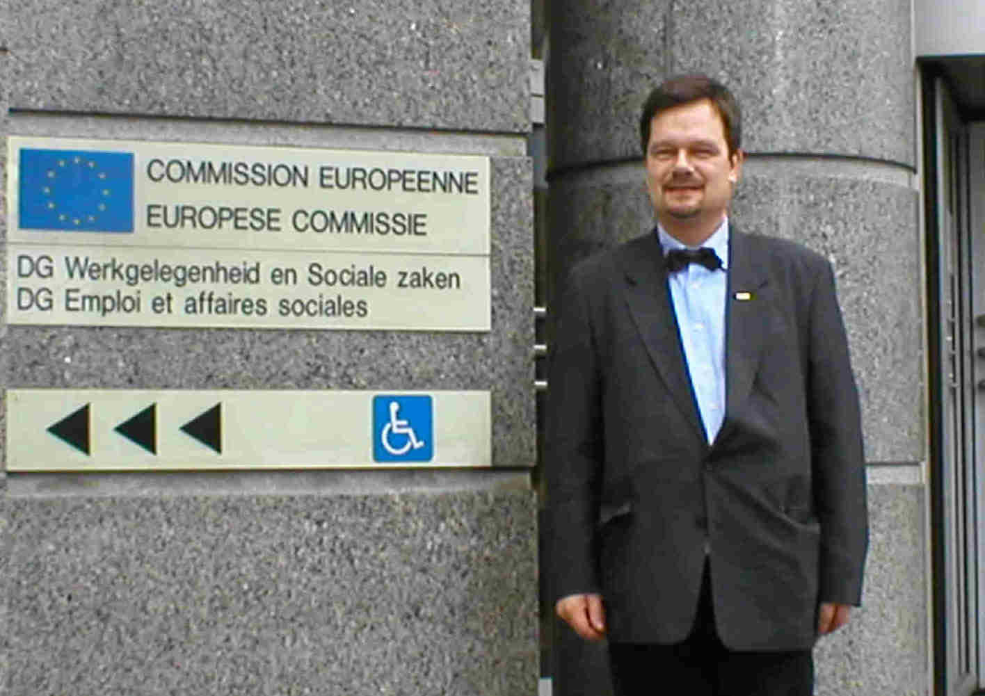 Dr Stefan Prystawik, Director of the European Anti-Discrimination Council, leaving the EU Commission Building for talks with the Vice President of the EU Parliament, Dr Sylvia-Yvonne Kaufmann