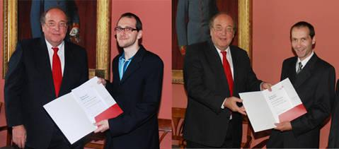 Dean Peter Skalicky with the two winners: A. Hochmair (left) and H. Jäger (right)