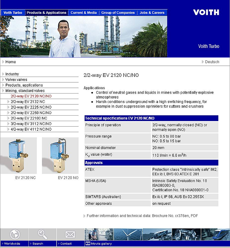 Sample page from the new Voith Turbo Valvex website