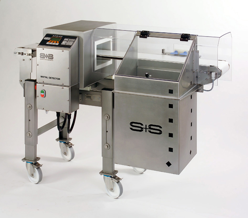 VARICON metal detection system – shown above with air blast unit to remove contaminated product – ideal for inspecting loose and packaged goods on conveyors
