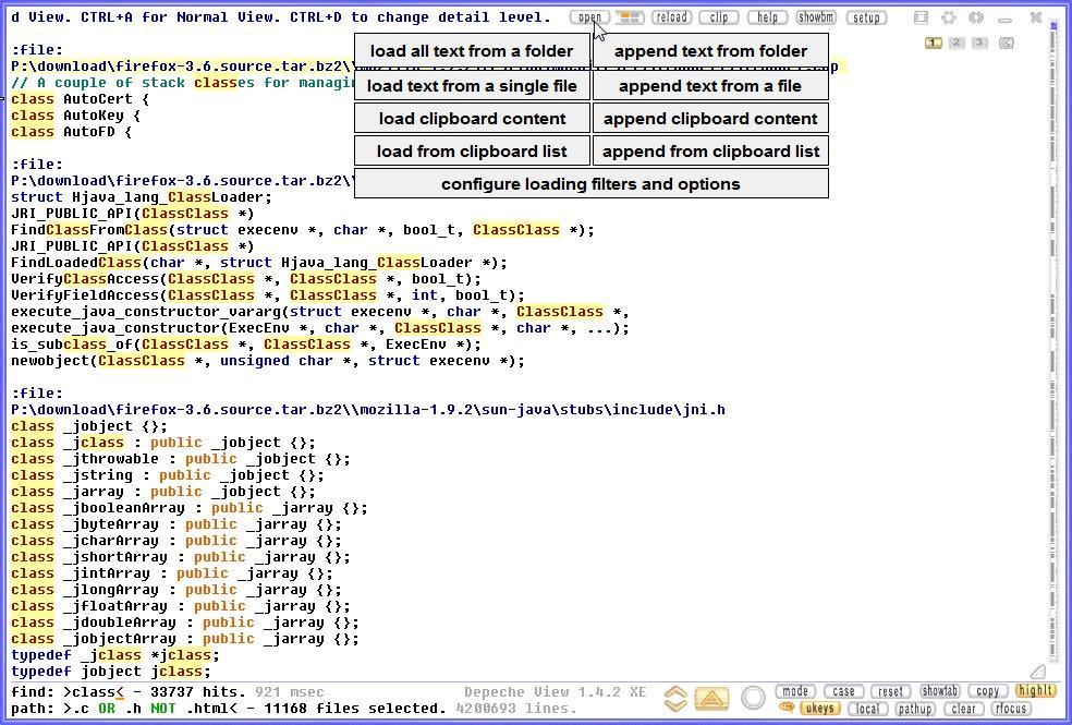 Depeche View Screenshot, searching 11000 files.