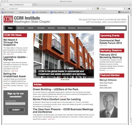 Washington State CCIM Chapter Website Home Page