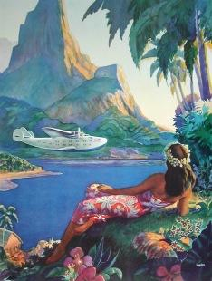 Pan Am to South Seas Islands, c. 1939  The romance of exotic travel was brought to life by this lush vision of a Pan Am Clipper landing at Pago Pago.