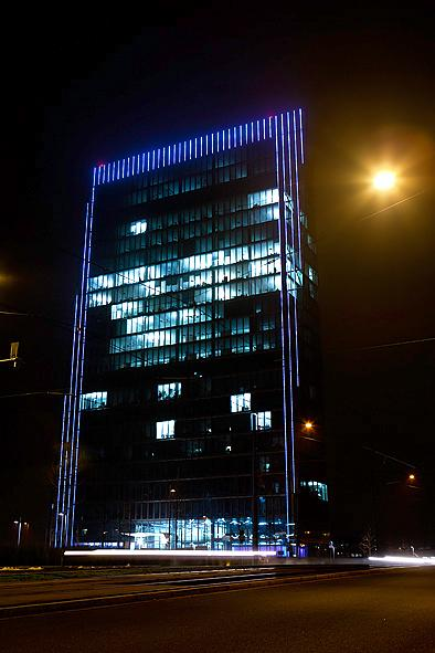 The commissioning of the LED illuminations on Bremen?s Weser Tower; photos: © A&O Lighting Technology GmbH