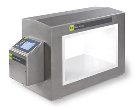 The new GLS tunnel metal detector in hygienic design with the GENIUS+ Control Unit featuring the optional color-touch-panel.