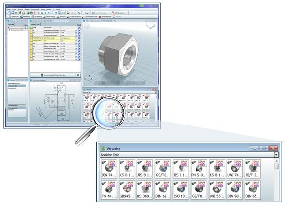 The geometric similarity search will automatically be started in the background of PARTsolutions Version 9.02.