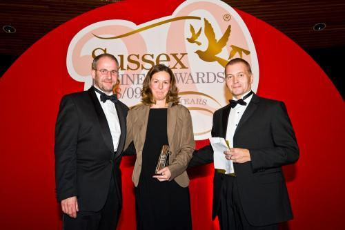 Lucho and Christine Zuidema, owners of Brighton House, receiving their Sustainable Business Award from Sussex Business Awards
