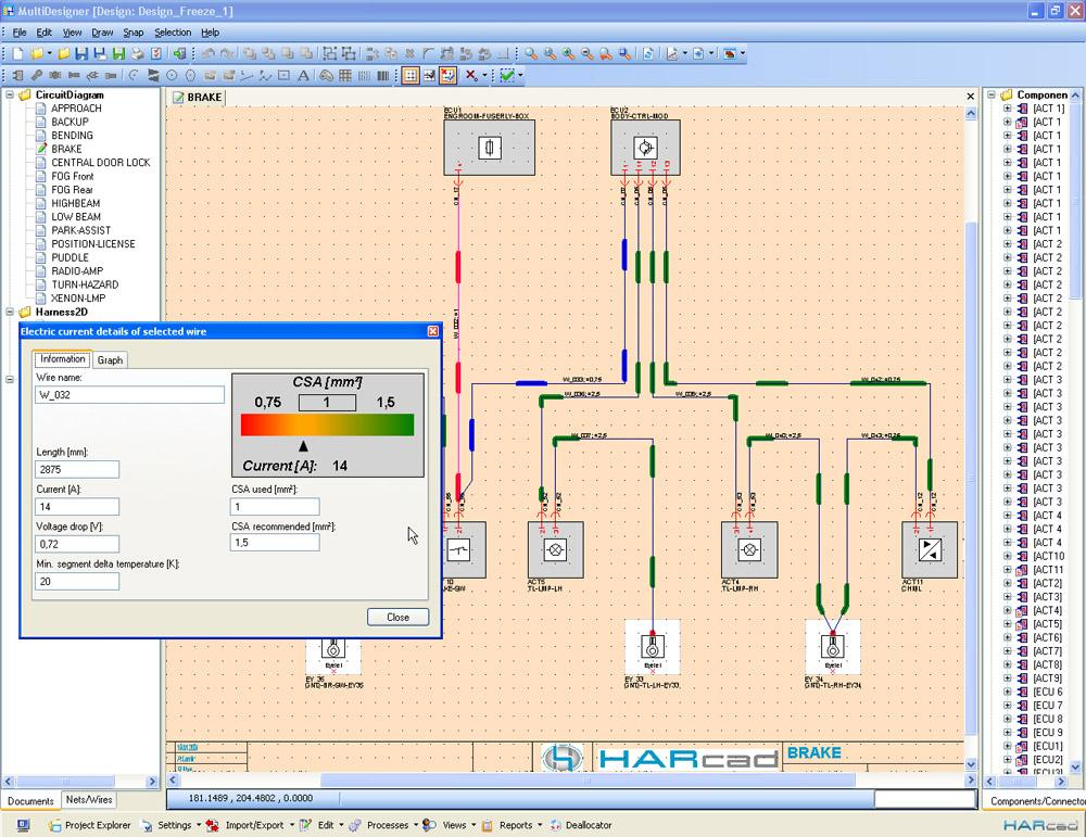 Screenshot HARcad showing simulation of current flow within the harness including colour code for different diameters; detailed information about single wires retrievable