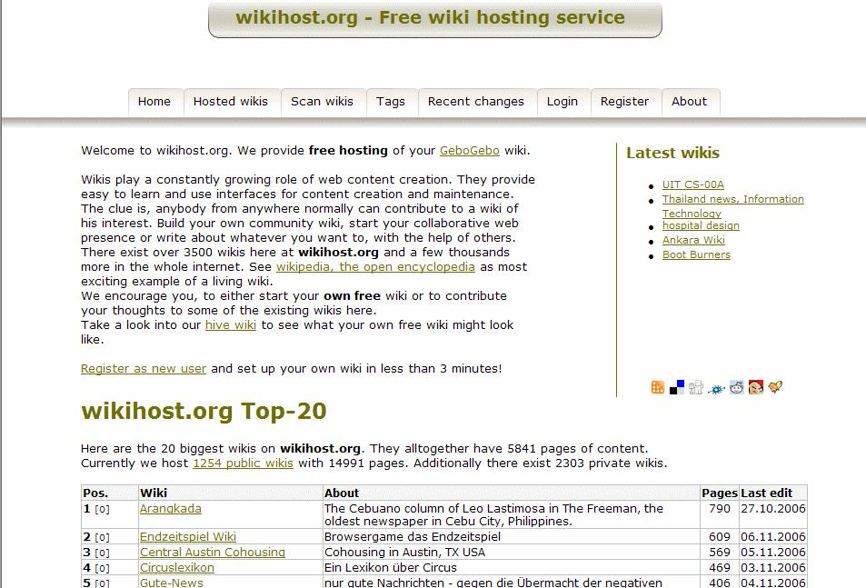 The home page of wikihost.org. From here you are only a few clicks away from your own free wiki