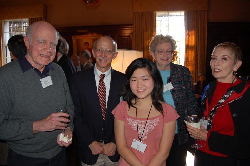 Associate Chuck Waterman of Pasadena enjoys the receptions with Dr. Philip Hoffman, Caltech student Lili Yang, Associate member Ann Hight of Pasadena, and his wife Pamela Waterman.