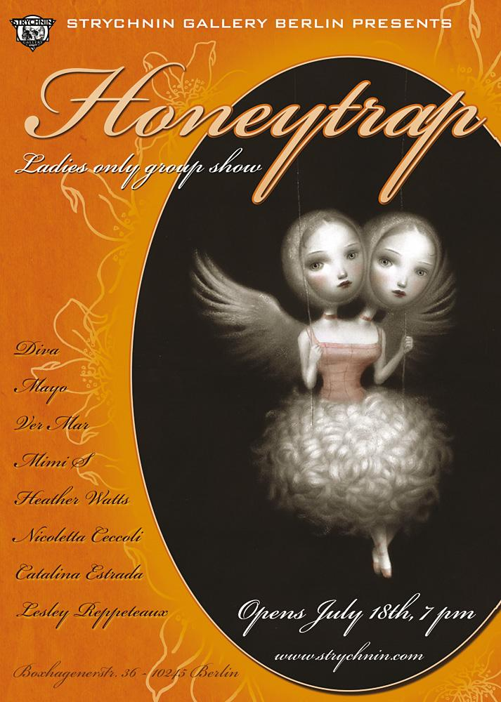 Honeytrap opens at Strychnin Gallery Berlin on July 18th. Flyer image with kind permission by Nicoletta Ceccolli.