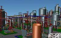 A pharma plant and its 3D model, designed by CEL International with MPDS4